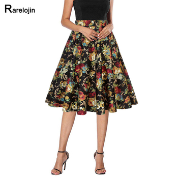 Summer skirt 2019 new fashion american print women skirt high waist wild A word pleated skirt femme midi skirts womens clothes