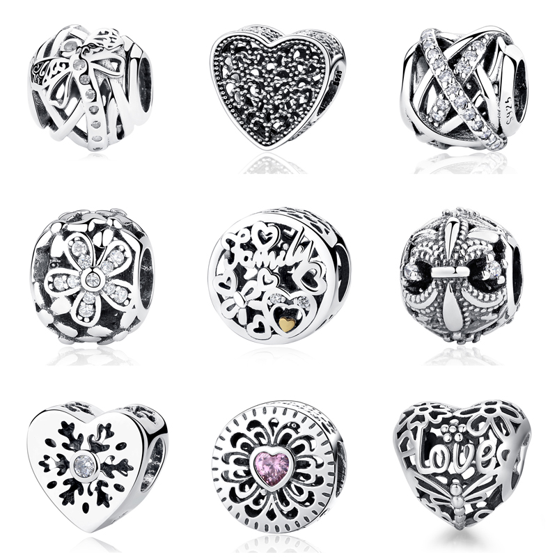 Authentic Original 925 Sterling Silver Bead Charm Love Heart Shine Bee Charms Openwork Fit Pandora Bracelets Women DIY Jewelry
