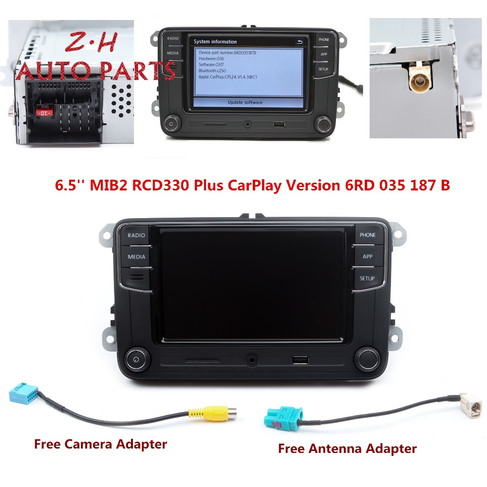 NEW 6.5'' MIB RCD330 Plus CarPlay Radio Player 6RD 035 187 B For VW Golf Jetta Passat B6 Eos Polo 1GB RAM Support Bluetooth USB
