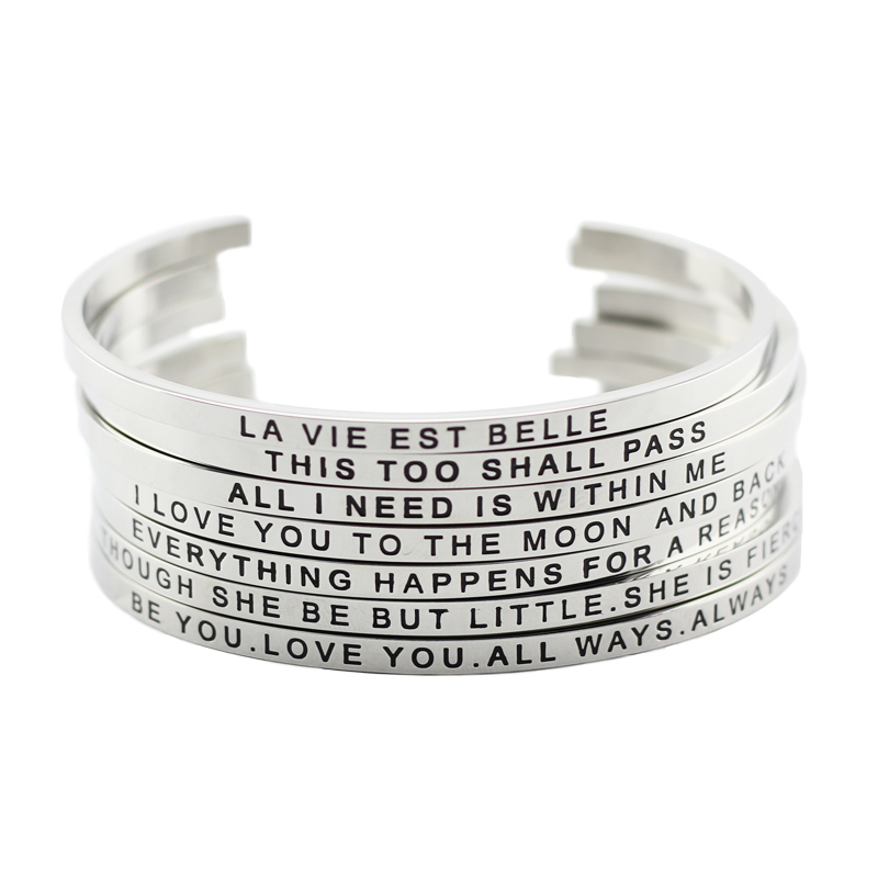 Trendy Stainless Steel Mantra Cuff Bangle With Positive Inspirational Quote