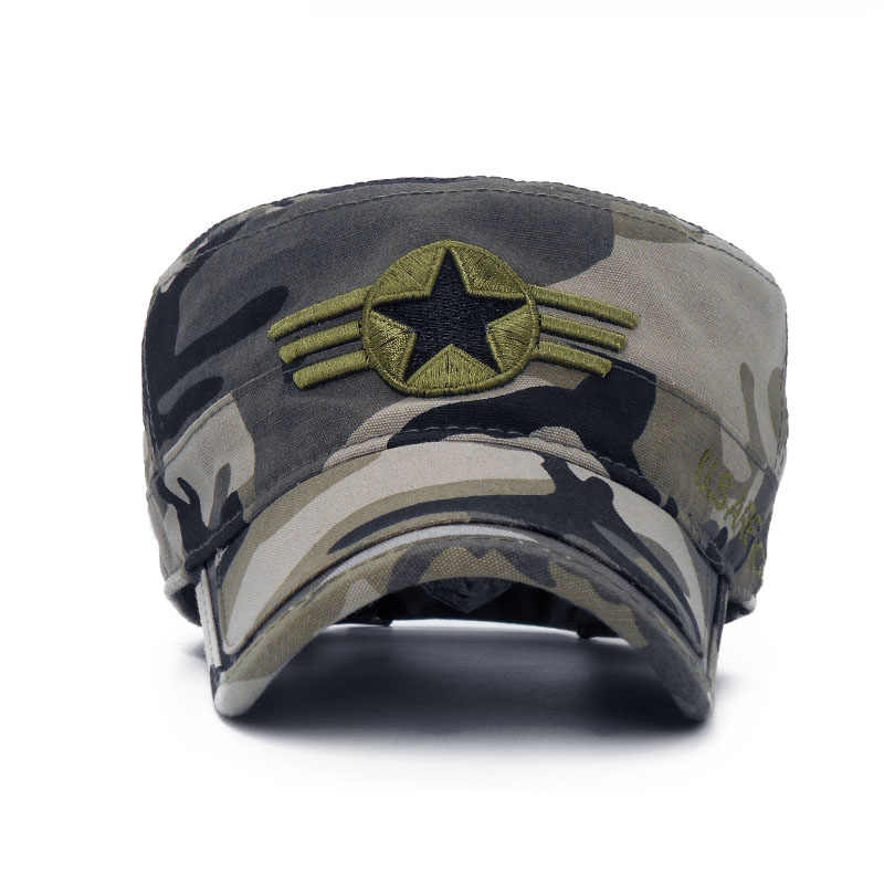 8a2da905 ... 2018 Army camouflage Flat Top Mens Caps Hat Adjustable Star embroidery  Cotton Cap Baseball Casual Military ...
