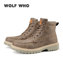 WOLF WHO Fashion winter Men Ankle Boots Casual Men Leather Martin Boots Breathable slip resistant Working Boots krasovki X-154
