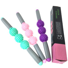 Gym Muscle Massage Roller Stick Yoga Relax Tool Sticks with 3 Point Spiky Ball