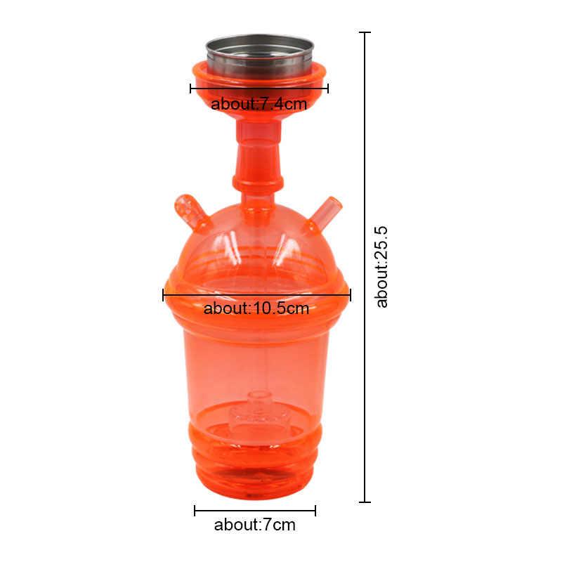 Acrílico LED luz Hookah taza Set pipa Shisa con manguera recipiente de carbón Tong Nargila colorido LED Narguile accesorios pipas