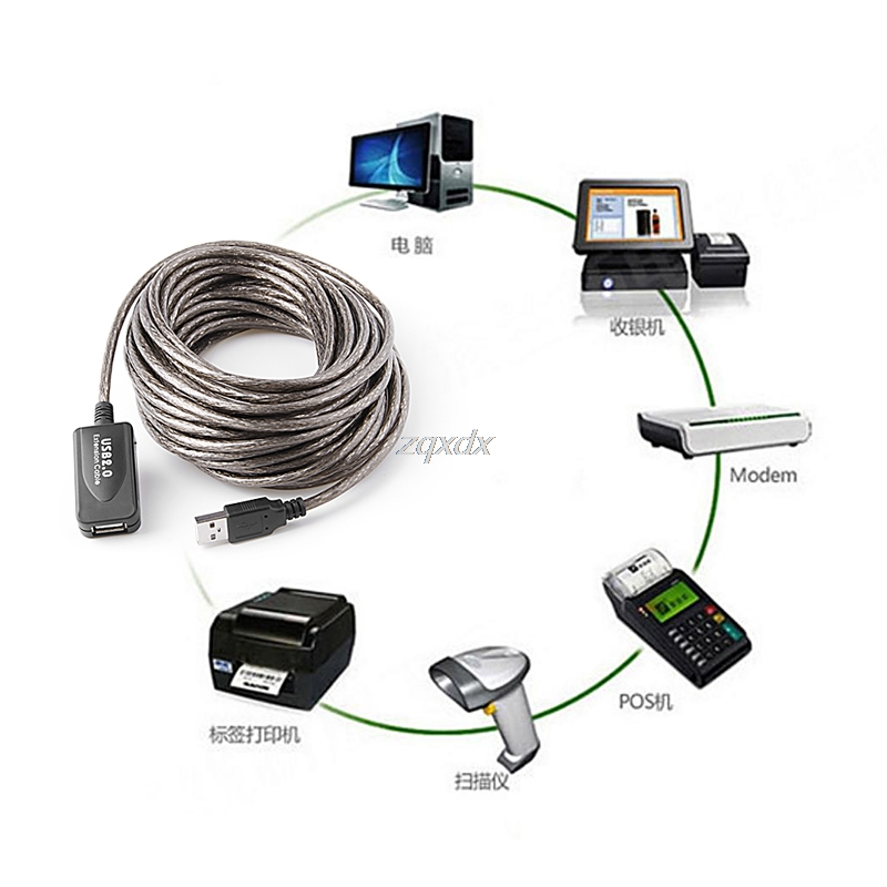33Ft/ 10M USB 2.0 Active Repeater Male to Female Extension