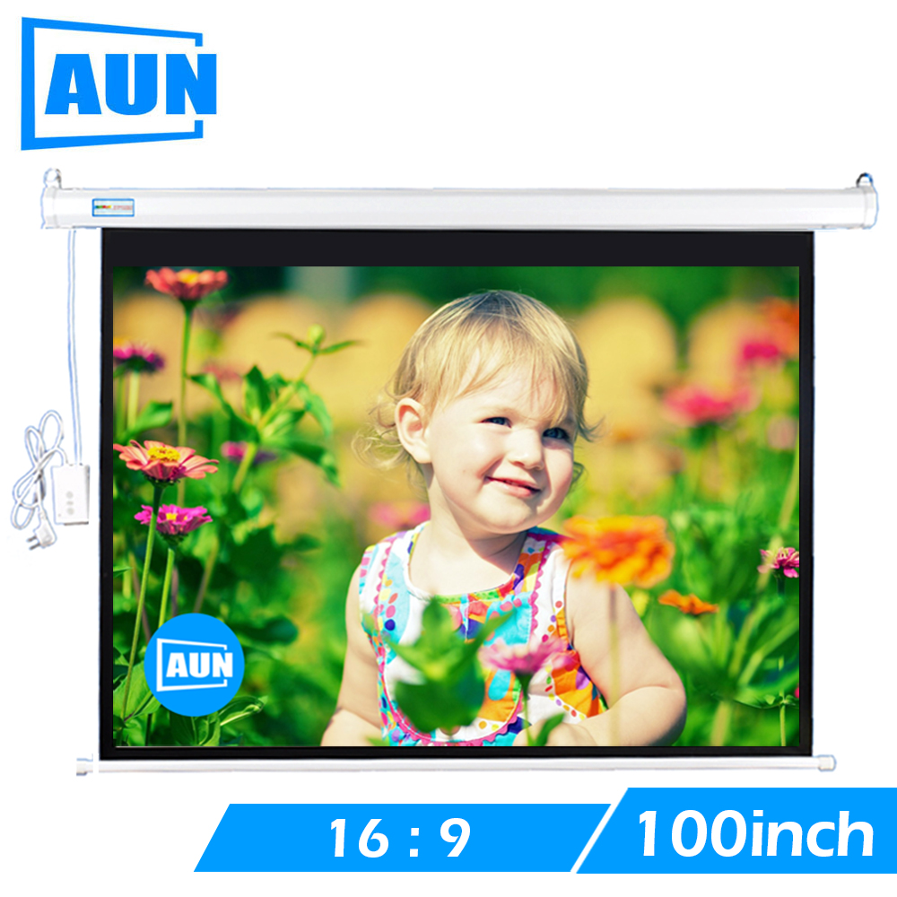 AUN 100 inch 16:9 Motorized Screen for AUN LED Projector DLP Projector Screen Wall Ceiling Mount Remote control Screen DDM100 support for customfree shipping 120 inch projector mount screen 16 9 gf grey