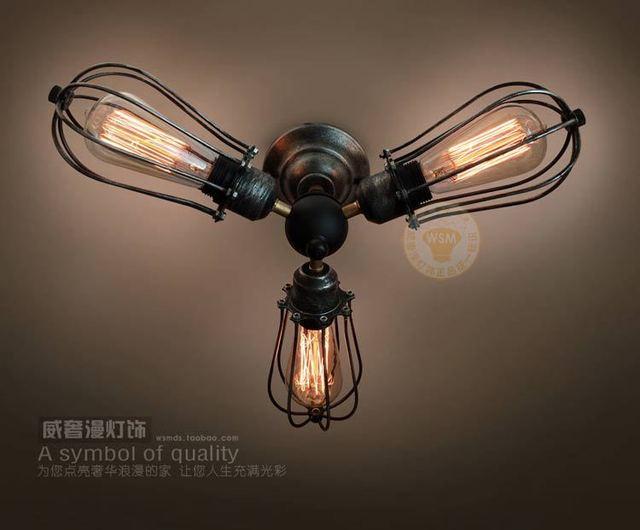 Vintage industriële rustieke plafondlamp art deco smeedijzeren