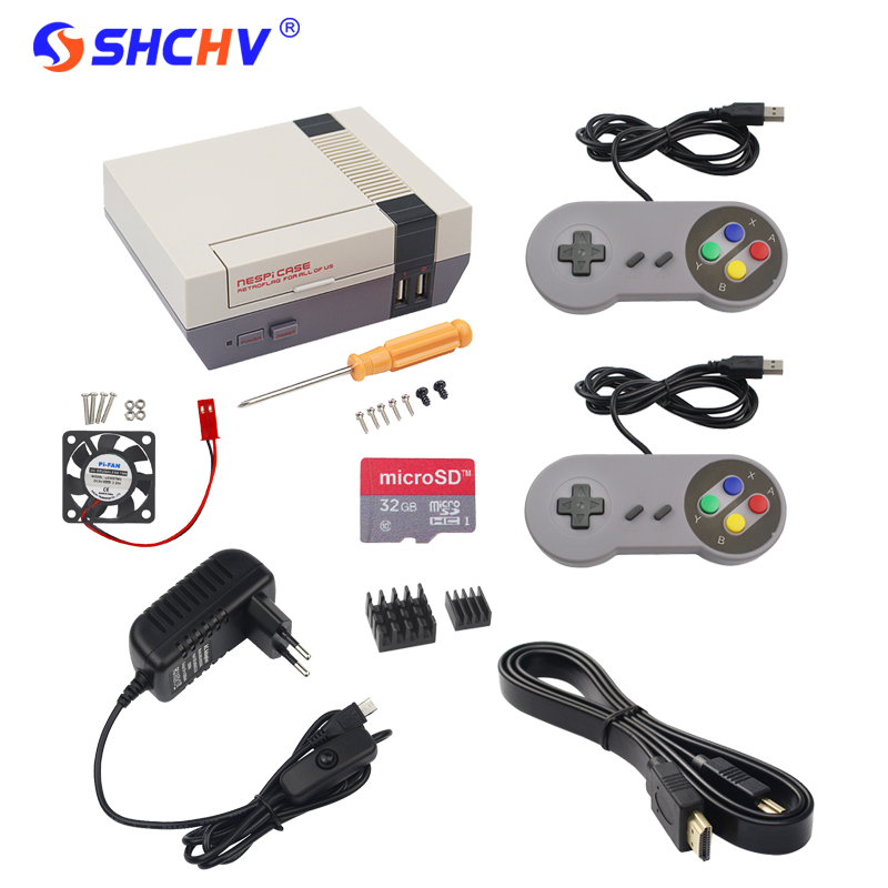 NESPi Case Raspberry Pi 3 NES Retroflag Box Kit + Fan + 32G SD Card + Game Pad Controller + 3A Swith Power Supply + HDMI Cable premium 3pcs cpu ram lan copper heatsink cooler pad kit for raspberry pi 3 pi 2 pi model b raspberry pi a a radiator cooling