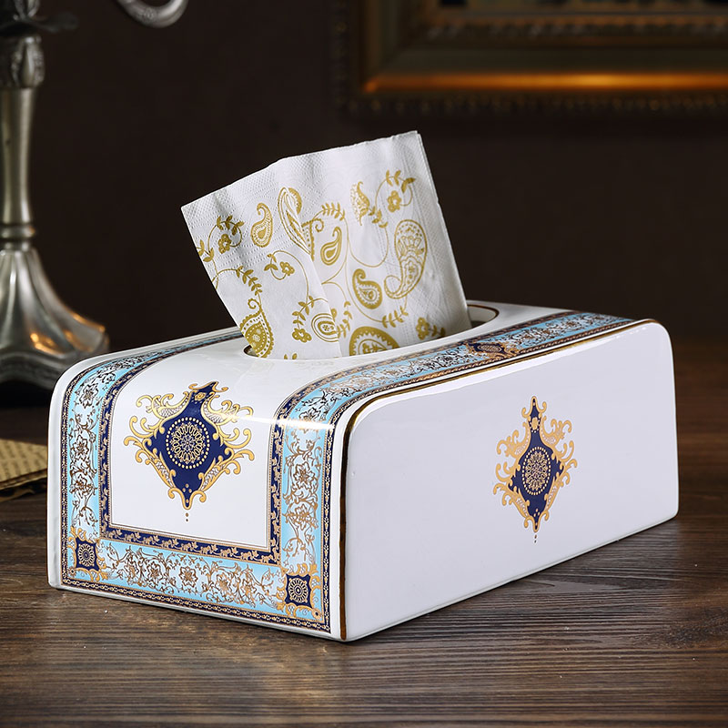 10 quot tissue box ceramic modern simplicity tissue paper box Removable tissue boxes Living room decoration Table decorations in Tissue Boxes from Home amp Garden