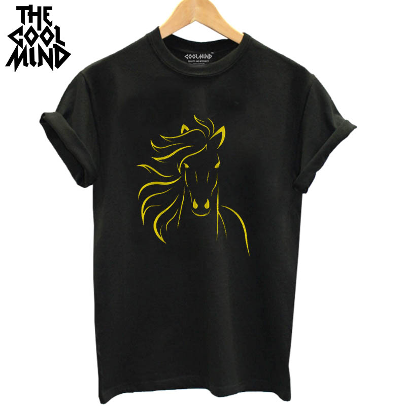 THE COOLMIND top quality cotton short sleeve casual horse printed women   T     shirt   tees   shirt   o-neck knitted comfort women   t  -  shirt