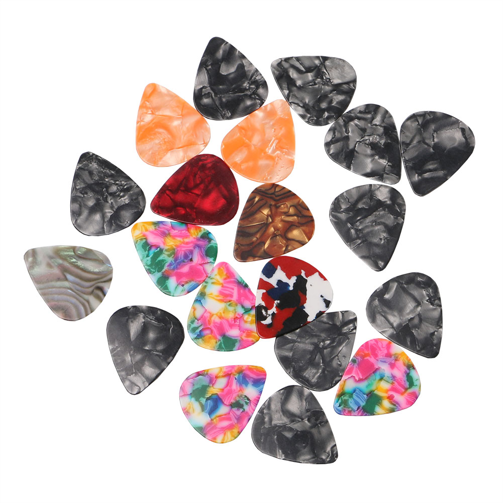 20 Pieces 0.45 mm Celluloid Guitar Pick for Acoustic Electric Stringed Instruments Accessories Color Random