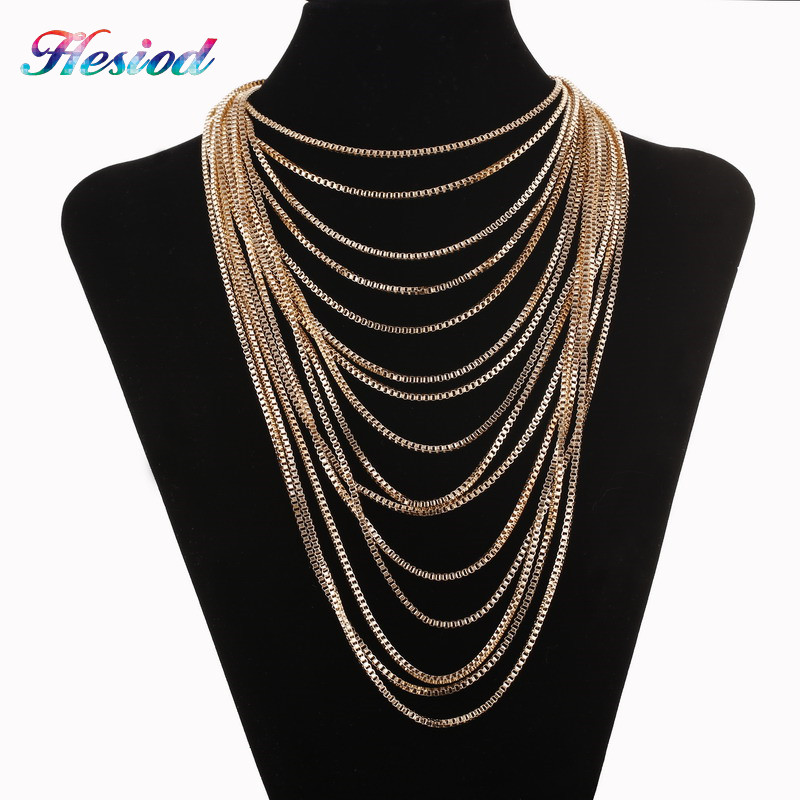 Exaggerated Layered Metal Choker Pendant Necklace Ethnic Colar Women Rose Gold Filled African Jewelry Necklace Collar Chain