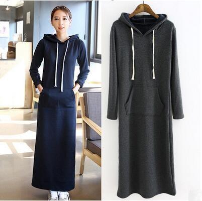 2017 Autumn Winter Dress Women Black Gray Sweater Warm Fur Fleece Hoodies Long Sleeve Slim Hoodie Maxi Dresses Vestido Femininas