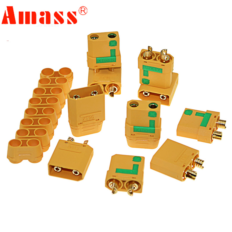 Amass XT90S 10PCS XT90 Connector Anti-Spark Male Female Connector With Cover Sheath Housing VS XT60 Deans For RC Lipo Battery