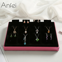ANFEI 12 hook high grade necklace rack jewelry display clip black velvet jewelry storage board bracelet frame hot selling GA3911