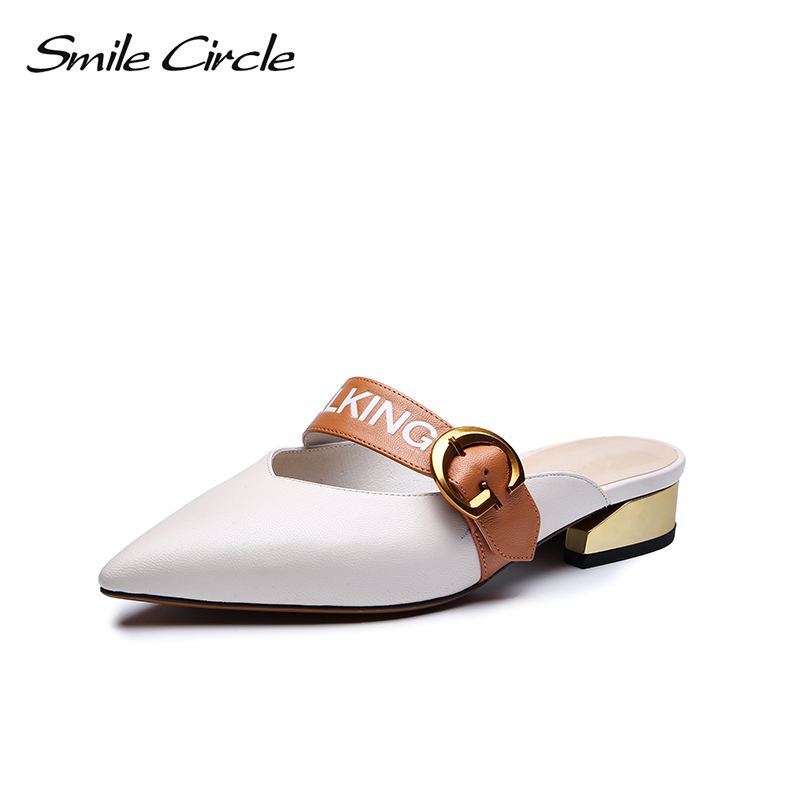 Smile Circle Summer Genuine Leather Shoes Women Fashion Pointed Toe Flat slippers Women chaussures femme ete 2018 shoe