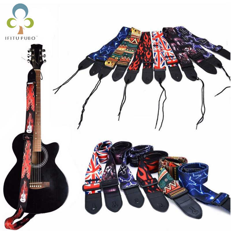 High Quality Acoustic Electric Guitar Strap Leather Bass Guitar Strap Printing Cool Strap For Guitar Musical Instruments GYH