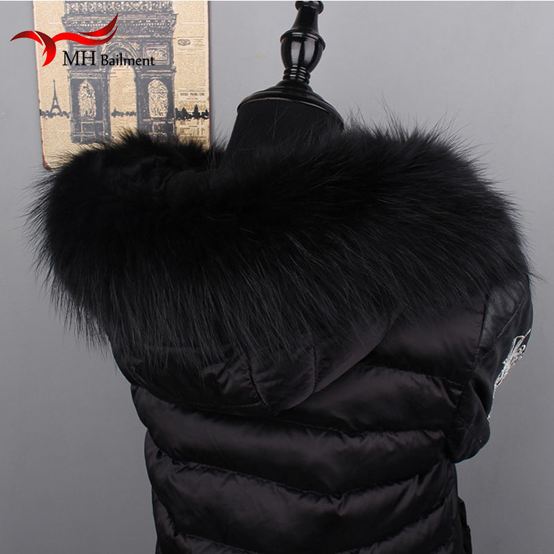 Image 2 - Women Fox Fur Collar Scarf Big Fur Collar Custom Made Hoodie Fur Trim Genuine Raccoon Fur Hood Trim Scarf Black Color-in Women's Scarves from Apparel Accessories on AliExpress