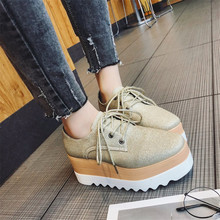 COOTELILI Spring Women Shoes Flat Platforms Bling Lace-Up Wedges Sneakers Ladies Oxfords Woman Flats Casual Gold Silver