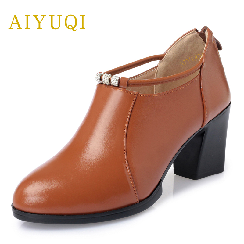 все цены на AIYUQI 2018 spring new genuine leather women shoes shallow rough lightweight fashion women's shoes high heel casual shoes female