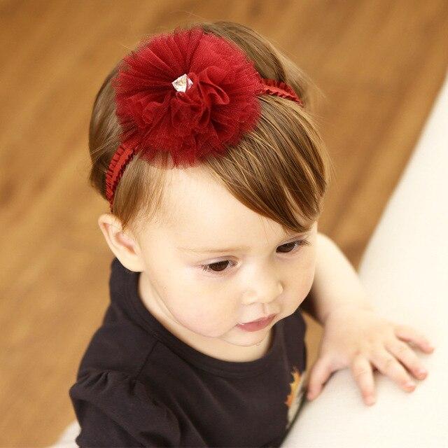 New Fashion Girls Headband Cute Big Lace Wine Red Flower Rhinestone Girls  Elastic Headbands Kids Hair Accessories Bandage ef3ed40e0c2