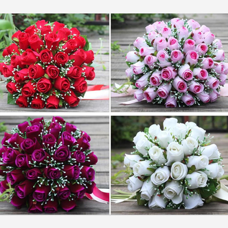 Amazing Wedding Bouquets For Bride Bridesmaid 2018 White Red Pink Purple Artificial Rose Bridal Flowers Bouquet Casamento