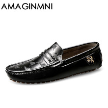 AMAGINMNI Brand Summer spring Breathable Genuine Leather Flats Loafers Men Shoes Casual shoes Luxury Fashion Slip On Driving