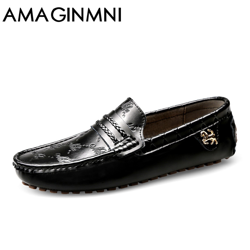 AMAGINMNI Brand Summer spring Breathable Genuine Leather Flats Loafers Men Casual shoes men Luxury Fashion Slip On Driving shoes