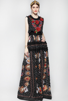 Vestido largo Vintage apliques bordados Floral elegante