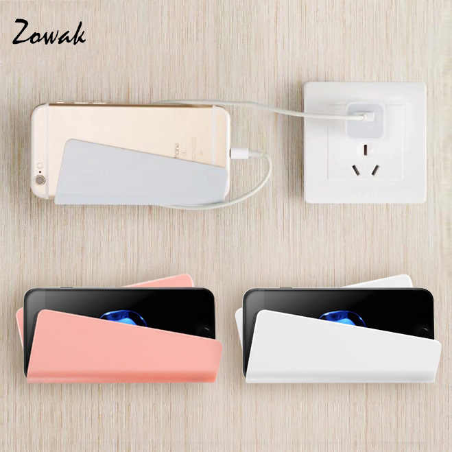 Adhesive Mobile Phone Wall Charger Home Adapter Charging Holder Hanging Stand Bracket Support Shelf Hanger Rack Cell Phone Hook