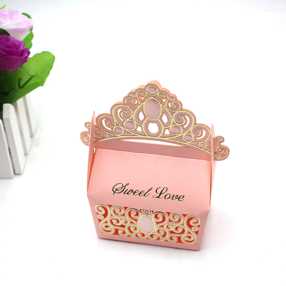 50pcs Red and Pink Royal Shiny Gemstone Crown Candy Box Wedding ...