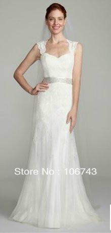 f967fdc486 Free Shipping 2016 David s Bridal White Wedding Dress Cap-sleeve with  Keyhole Back lace wedding dress with sleeves