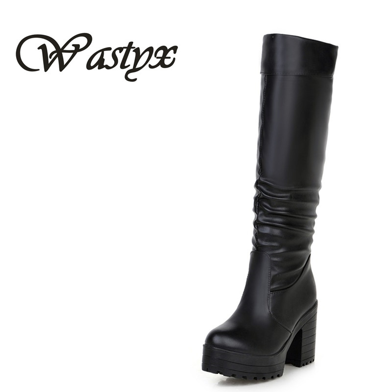 Wastyx women boots fashion high heels knee high boots sexy platform shoes woman round toe footwear winter warm boots size 34-43 wastyx new winter over the knee boots sexy super high women boots thin heel shoes woman fashion round toe sapato feminino 34 48