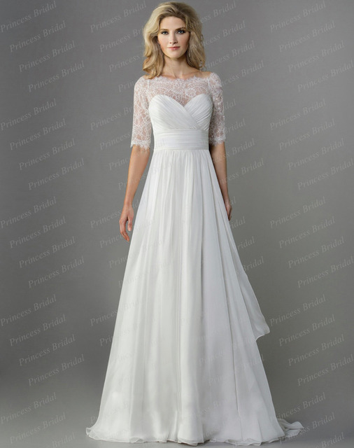 d2a4e71c52 Best Price! Modern A Line Top Lace Sweep Train Chiffon Off Shoulder Half  Sleeve Wedding Dress 2015 SE08