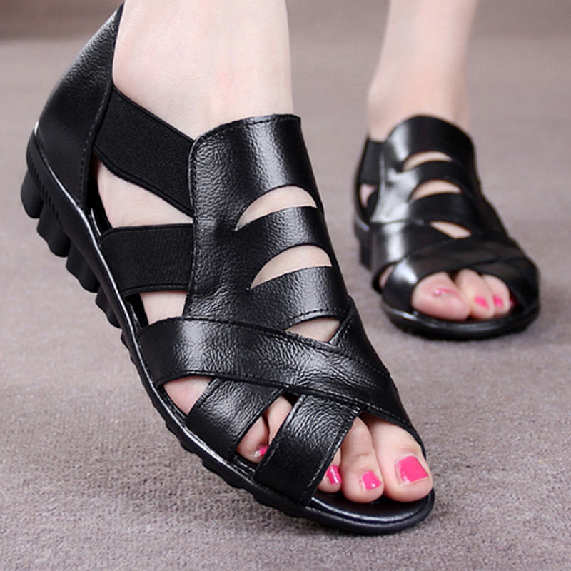 2017 handmade leather low with hollow out sandals shoes leather wedges soft bottom leisure shoes in the summer of mother ag46 Koovan Women Sandals 2017 Summer 41-43 Hollow Women Shoes Flat Bottom Mother Shoes Real Leather Mama Summer Shoes
