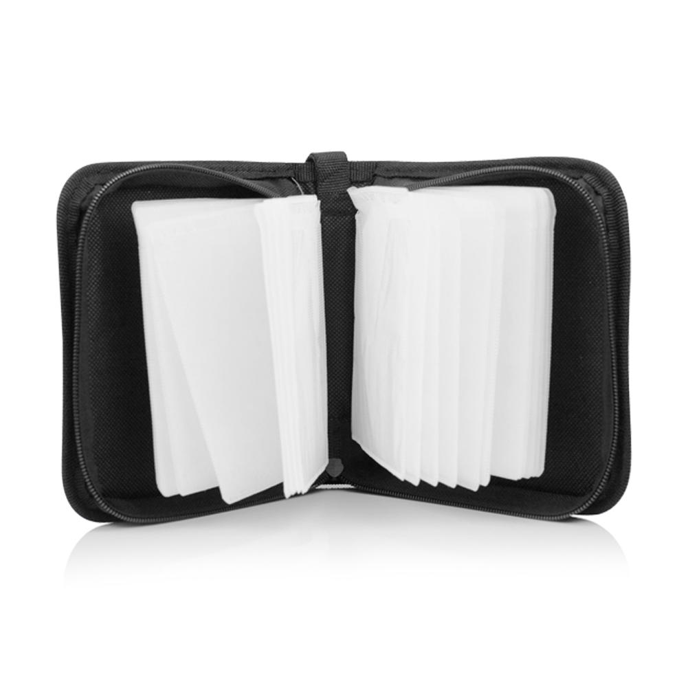 durable stylish 40pcs capacity cd case with zipper music discs game discs pc driver discs storage bag holder cds protector black