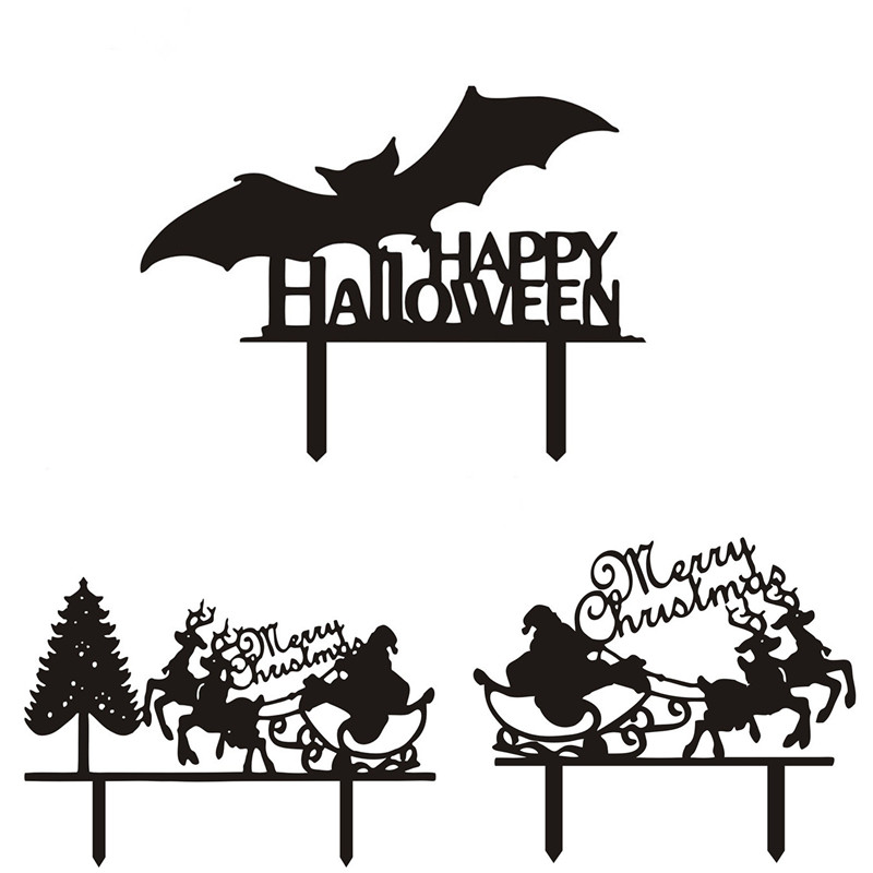 Happy Halloween Merry Christmas Acrylic Cake Flags Black White Cake Topper For Xmas Halloween Party Cake Decor Supplies