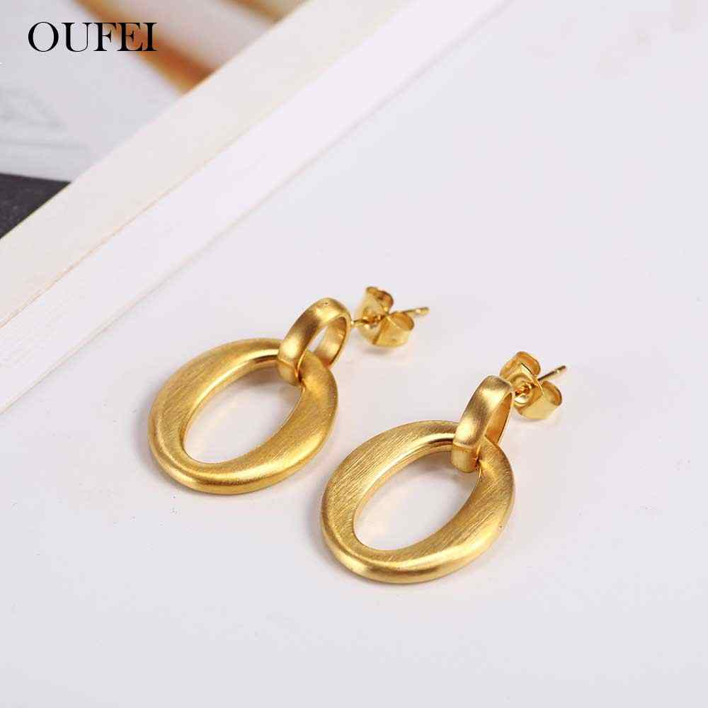 OUFEI Stud Earrings For Women Fine Jewelry Accessories Bohemia Fashion Charm Earring Stainless Steel Jewelry Woman Wholesale