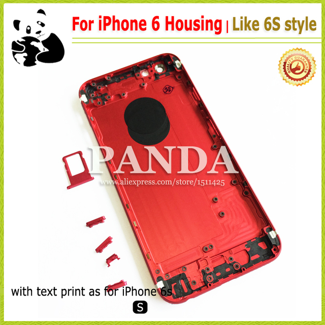 promo code 1a6c9 d43ba US $19.2 |6S Style For iPhone 6 Red Housing Back Cover Replacement 4.7  Colorful Matte Black Middle Frame With Full Logo Text IMEI Printed on ...