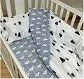 Nueva llegada ins cama cuna 100% de algodón caliente 3 unids baby bedding set incluye funda de almohada + hoja de cama funda nórdica sin relleno