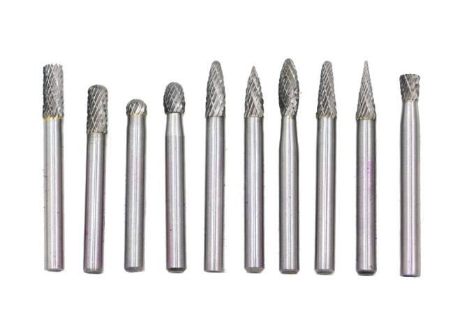 10pcs Tungsten Carbide Burs Sets Rotary Mini Drill Accessories Dremel Drill Grinding Burrs Tungsten Sharpening Drill Bits