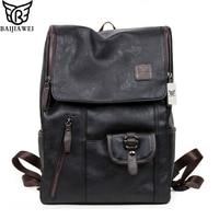 BAIJIAWEI Hot Sale Oil Wax Leather Backpacks Western Style Fashion Bag For Men Laptop Bags Travel Mochila Zip Casual Daypacks