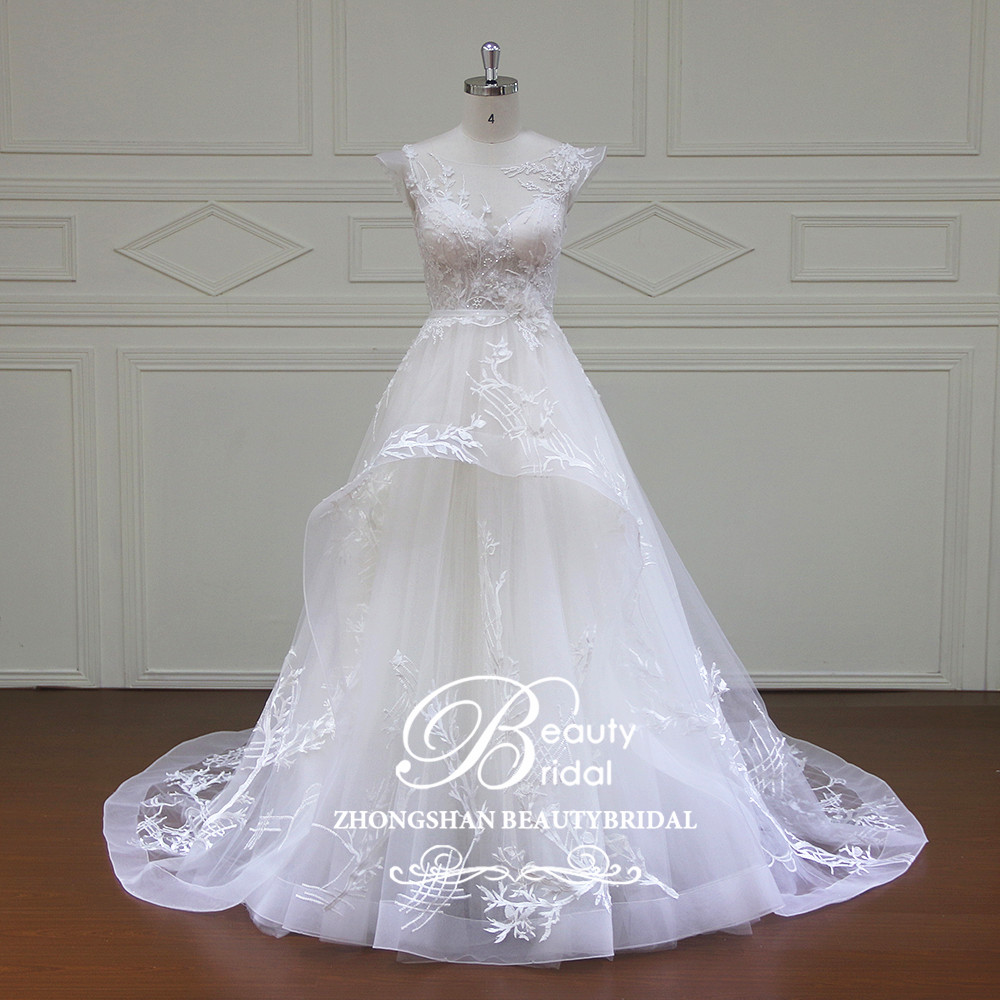 100% Real Photos Luxury Wedding Dresses Royal Train Lace A
