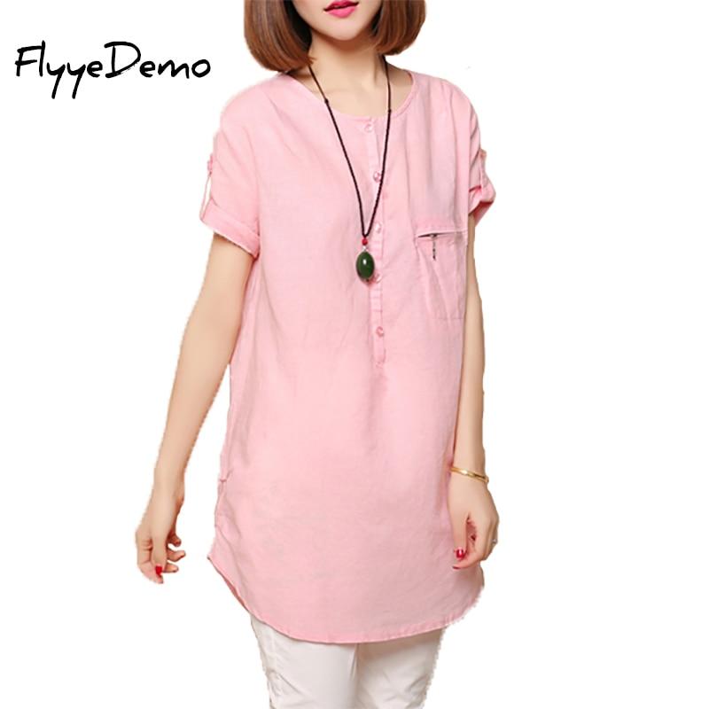 M 5xl 2017 summer new women blouse linen long shirt loose for Long linen shirts for womens