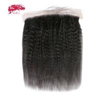 Али Queen Hair продукты бразильский странный прямые волосы 13x4 уха до уха Синтетический Frontal шнурка волос натуральный Цвет 100% натуральная Челове