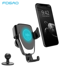 FDGAO 10W Car Mount Qi Wireless Charger For iPhone XS X XR 8 Air Vent Fast Charging Car Phone Holder Stand For Samsung S10 S9 S8 car mount 10w qi wireless charger magnetic phone holder stand for samsung s9 s8 qc3 0 quick fast car charger for iphone x 8