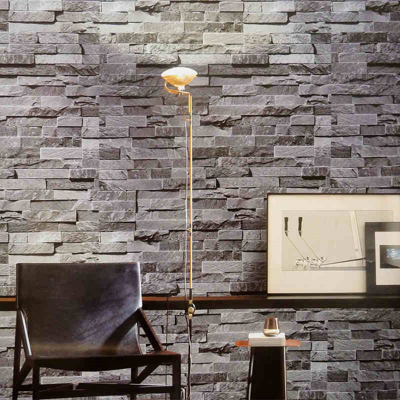 Modern 3d wallpaper gray brick wall vinyl kitchen wall for 3d stone wallpaper for walls