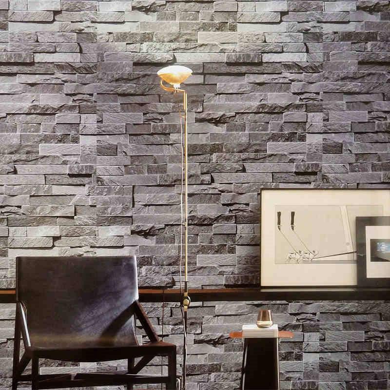 3d Washable Stone Wallpaper Modern 3d Wallpaper Gray Brick Wall Vinyl Kitchen Wall
