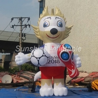 Customized 3mH popular 2018 World Cup mascot inflatable carried with football for event display
