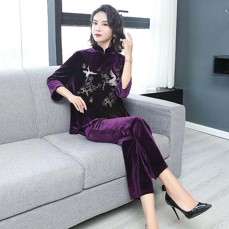 Vintage Taille Automne Broderie Black Vêtements Pièces Femmes Top Tenues Velours Grande Et hiver 2 Pantalon Costumes purple Noir Ensemble Yiciya Élégant q6PaTT